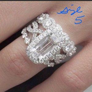 Size 5 White Gold Filled Wedding Ring Set